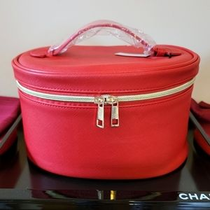 Huge Traincase in Red Faux Leather